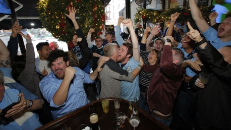 NEW YORK NEW YORK: City fans watching the Manchester derby in the Big Apple.
