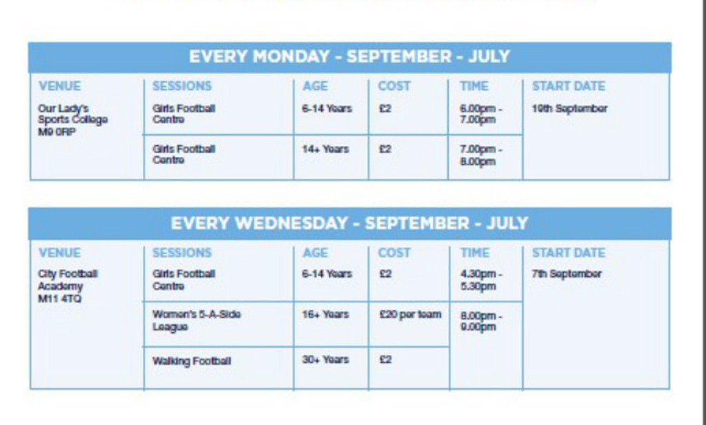 City in the Community girls football timetable