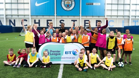 ONE CITY: Raheem Sterling visits a City in the Community disability session.