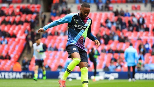 STERLING SILVER: Raheem sports the mash up of shirts which have seen us win six major trophies and counting.