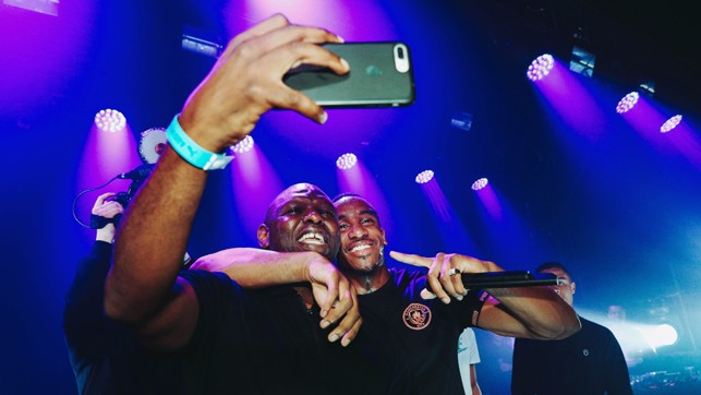 SNAPPED: Shaun Goater gets an on stage selfie.