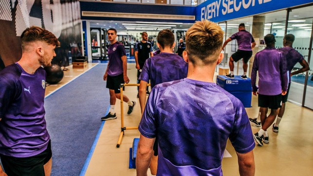 SQUAD GOALS:  The City players go through their paces in the gym