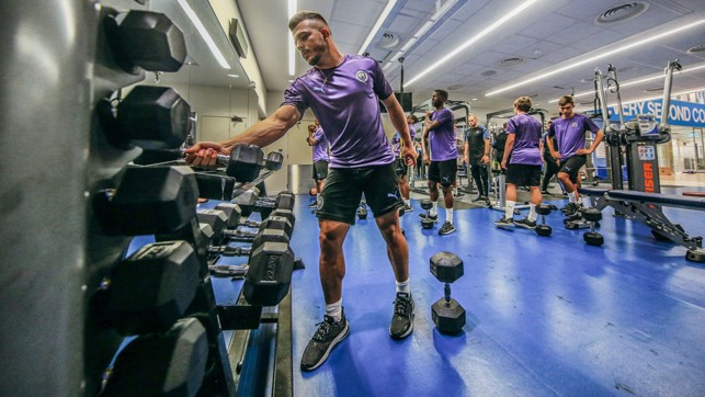 WEIGHT FOR IT: Lorenzo Gonzalez prepares for another session in the gym
