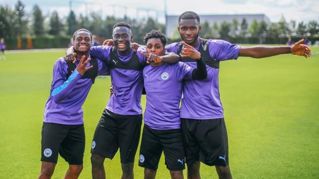 AWESOME FOURSOME: Nat Ogebta, Alpha Dionkou, Jeremie Frimpong and Yeboah Amankwah line up for the camera