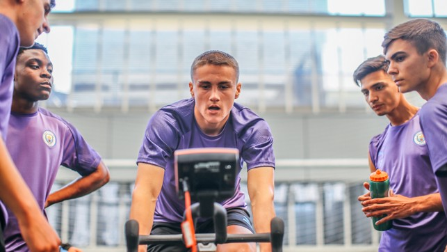 PEDAL POWER: Taylor Harwood-Bellis is put through his paces on the wattbike