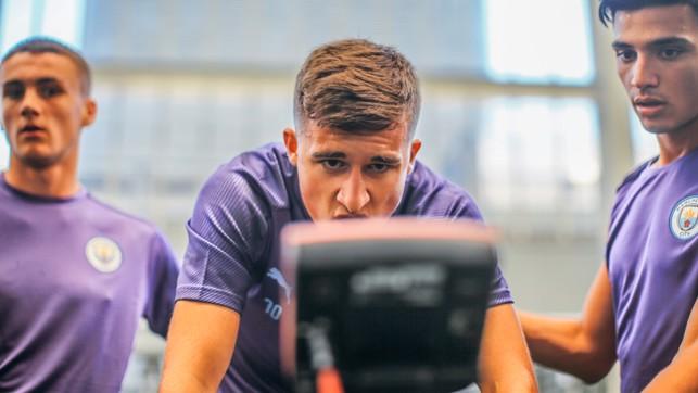 POWER LEAGUE: Goalkeeper Louie Moulden checks on his progress on the wattbike