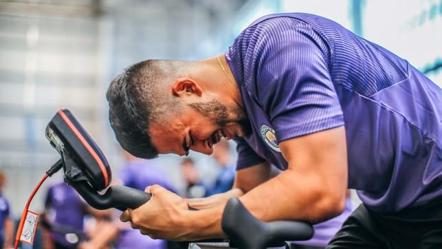 TAKING THE STRAIN: Lorenzo Gonzalez strains every muscle on the wattbike