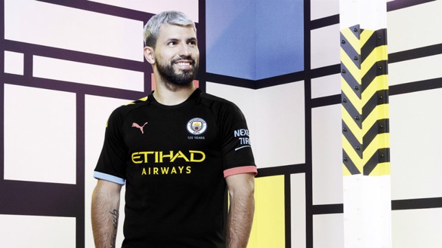 RICH HERITAGE: Sergio Aguero wears our new PUMA away kit which draws its inspiration from Manchester's rich cultural heritage