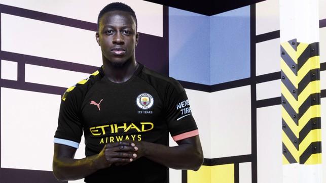 FOCUSED: Benjamin Mendy looks the part in City new's PUMA away shirt