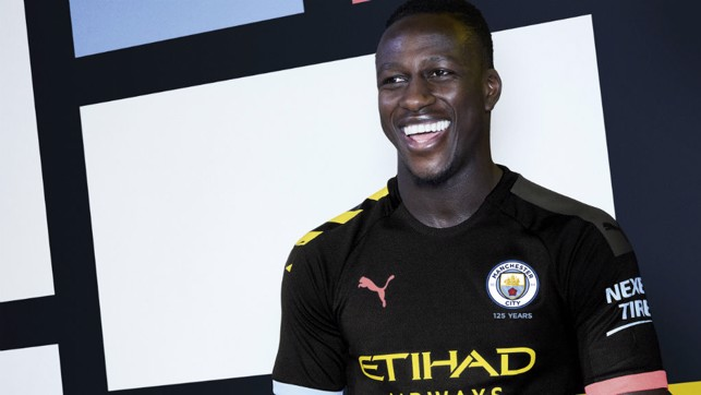 ALL SMILES: French full-back Benjamin Mendy is in positive mood as he sports City's new 2019/20 away shirt
