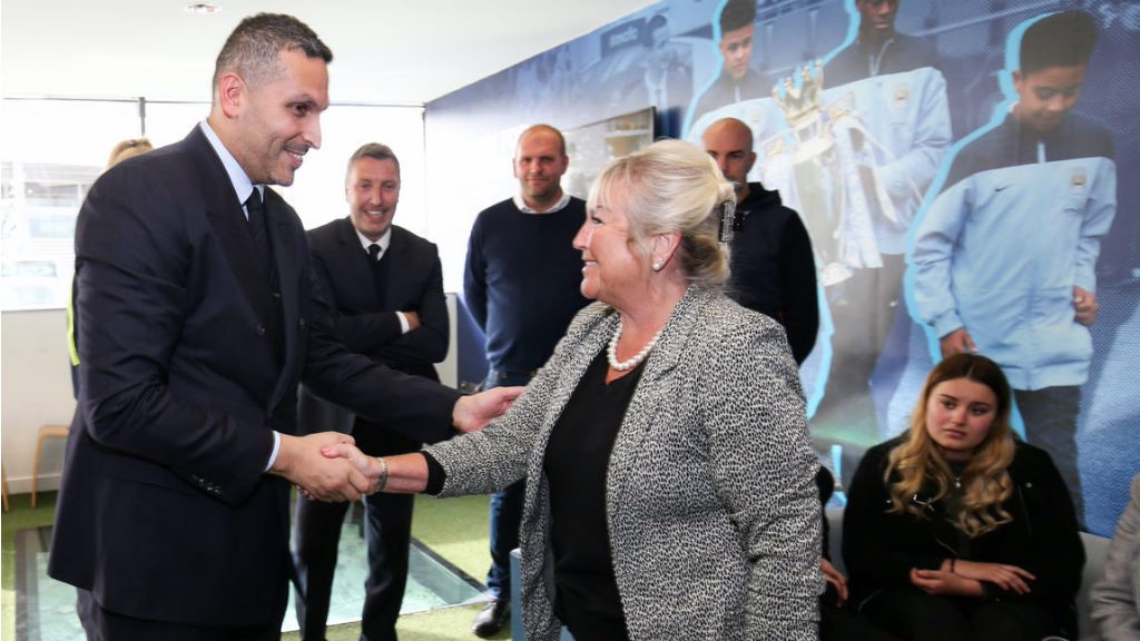 SPECIAL TRIBUTE: Club chairman Khaldoon Al Mubarak meets Bernard's wife Karen at the official opening of the Bernard Halford Auditorium