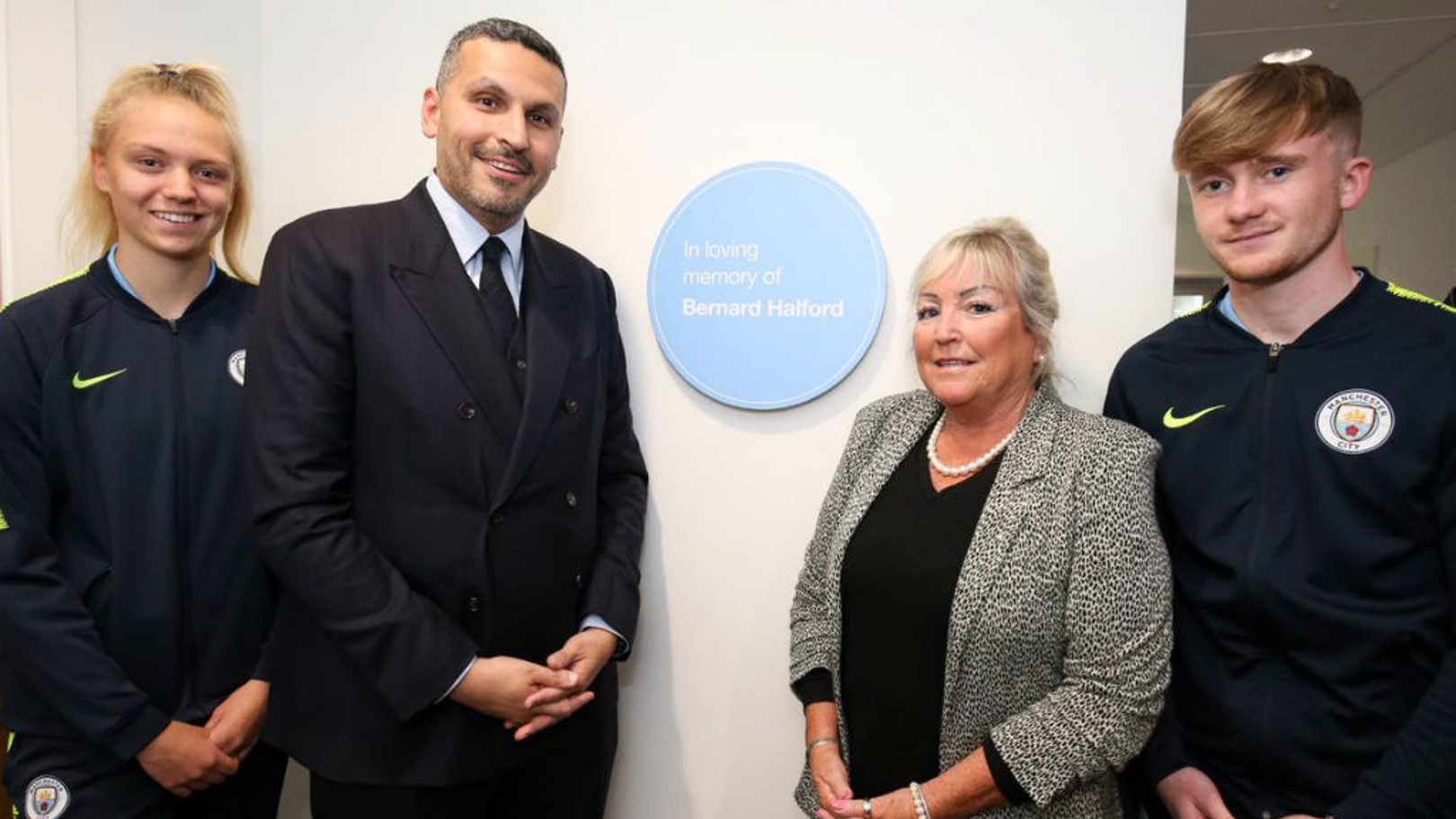LASTING LEGACY: Esme Morgan, Club chairman Khaldoon Al Mubarak, Bernard's wife Karen Halford and Tommy Doyle at the official opening of the Bernard Halford Auditorium