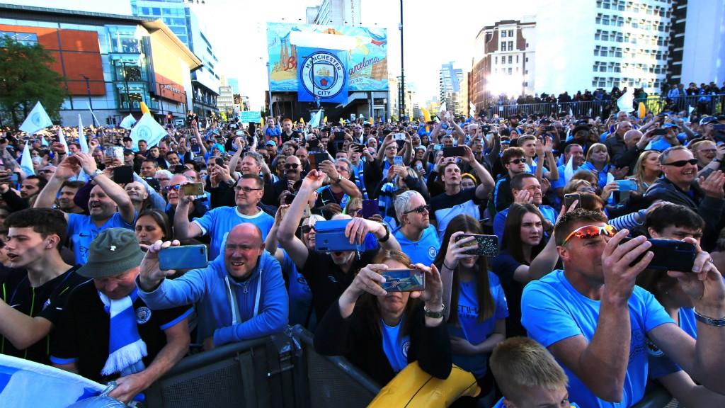 BLUE HORDES: City fans packed the city centre