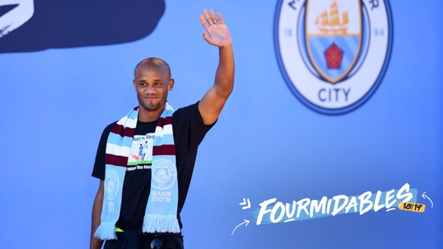 SKIPPER: Vincent Kompany addresses the crowd at the champions parade.