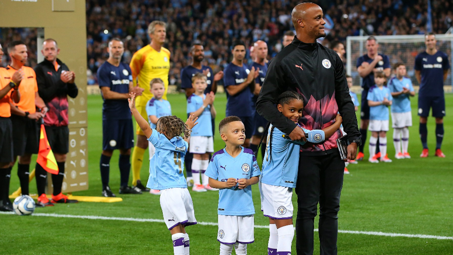 FAMILY FIRST: Kompany gives an emotional opening with his children by his side