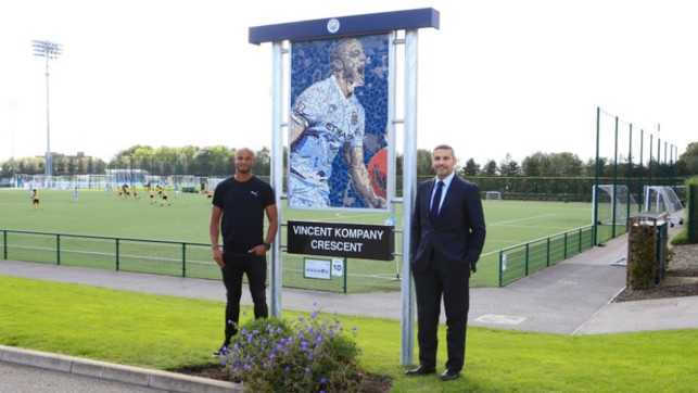 LIVING LEGEND: The man of the hour was immortalised earlier at the Manchester City Academy
