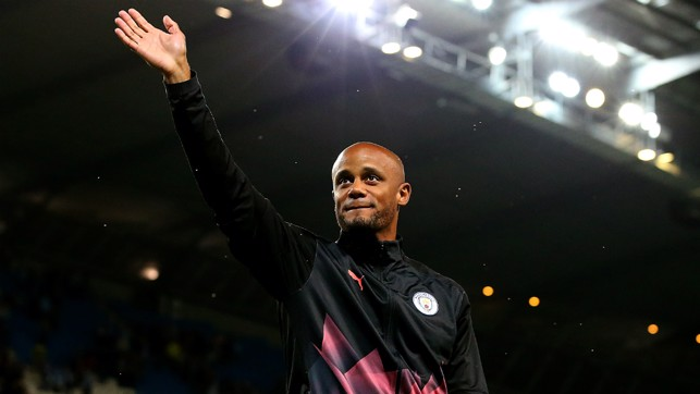 FAREWELL: After 11 legendary years, Kompany laps the Etihad and says his final goodbye to Manchester City