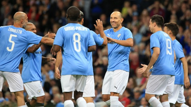 DREAM START: Martin Petrov celebrates with the City Legends after grabbing a goal early on