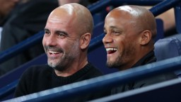 DOUBLE ACT: Pep Guardiola and Vincent Kompany are glad to see a late draw