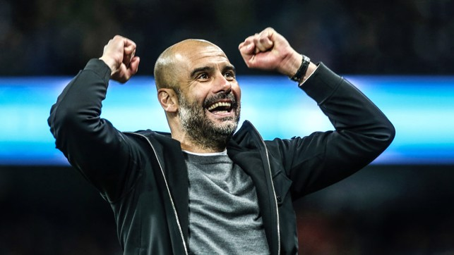 RESULT: A celebration we've seen many a time during the last three and a half years. Pep salutes our second goal in a 5-1 win over Leicester City in February 2018. We went 16 points clear at the top of the table that day.