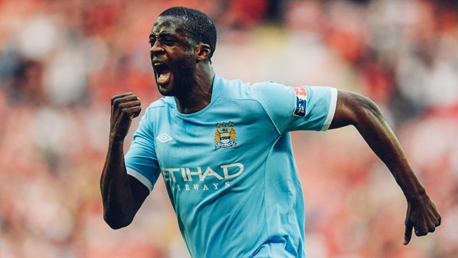 BIG GAME PLAYER: Passion from Yaya Toure as he celebrates his winner against Manchester United in the 2011 FA Cup semi-final.