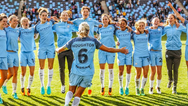 CHAMPIONS: Steph Houghton turns to her team-mates as celebrations of our first FA WSL title get under way in 2016.