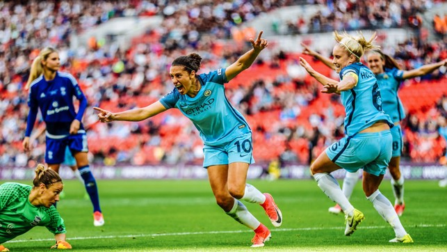 GRANDEST STAGE: Former World Player of the Year, Carli Lloyd, sends City on our way to a first FA Cup title at Wembley in 2017.