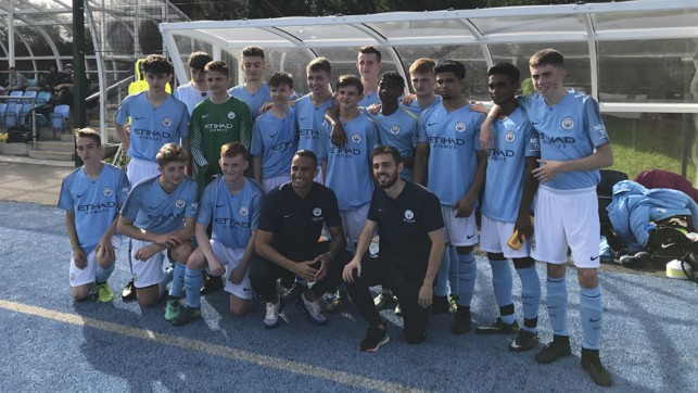SUCCESS BY DEGREES: Manchester City Community Football Coaching Degree and BTECH qualifications are delivered every day. Here Danilo and Bernardo Silva lend their support