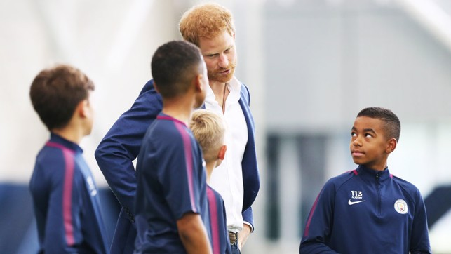 Manchester City under 12s meet HRH Prince Harry