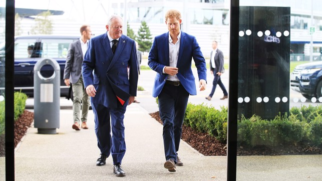 HRH Prince Harry arrives at CFA with Paul Griffiths, Vice Lord-Lieutenant of Greater Manchester