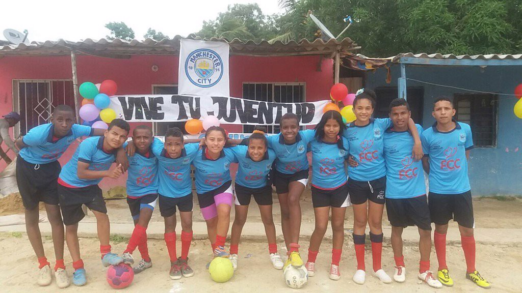 BARRANQUILLA: Young footballers pose