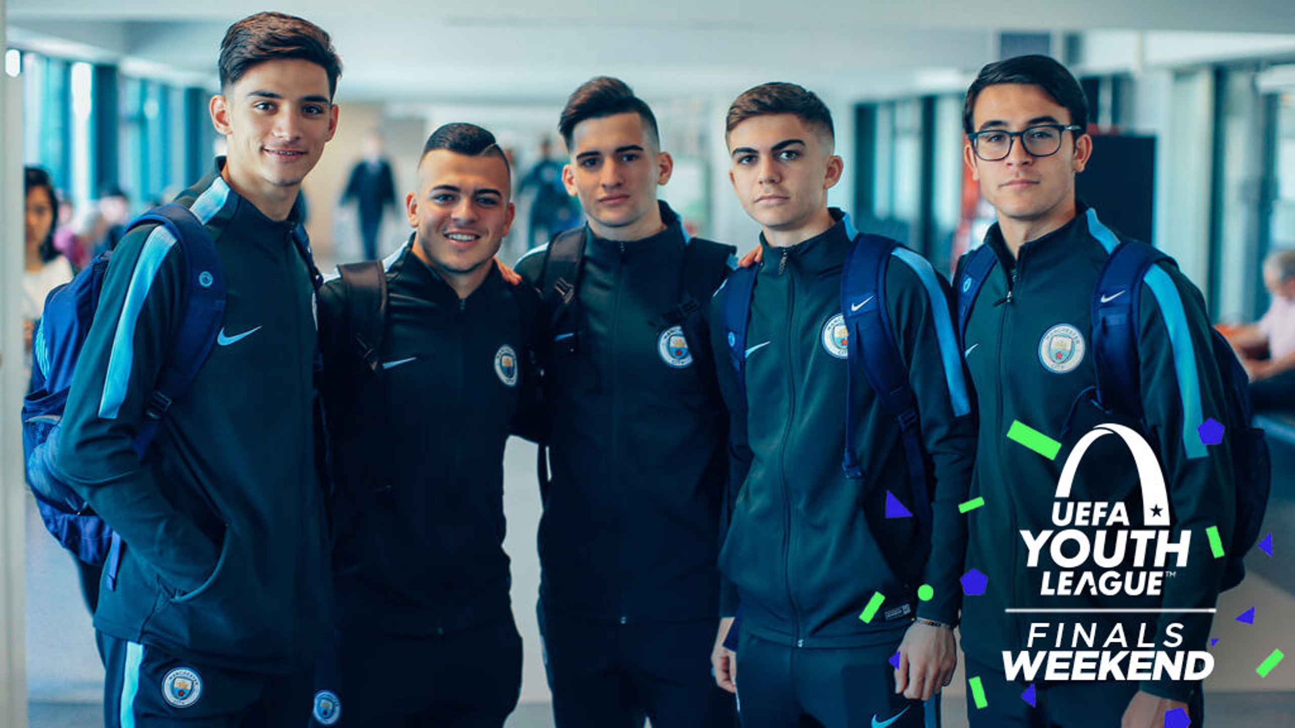 DEPARTURE: Our U19s prepare to leave for the UEFA Youth League final in Switzerland.