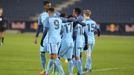 TOGETHER: Manchester City's squad walk as one