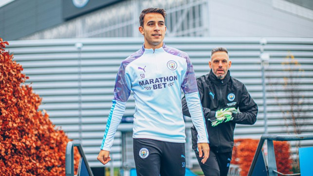 SLICK ERIC: Eric Garcia on his way out to training
