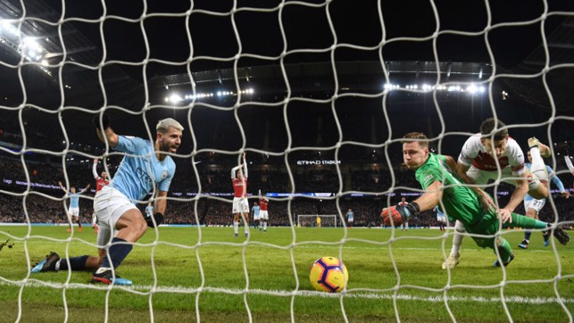 ROLLING THUNDER: Arsenal keeper Bernd Leno cant prevent Kun striking on the way to his 10th City league hat-trick, in a February 2019 Etihad clash