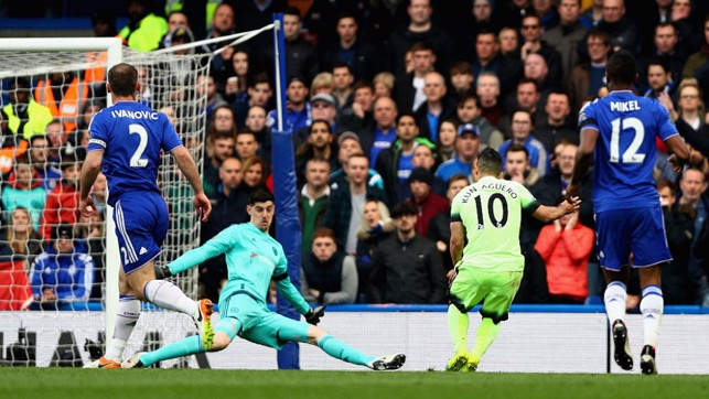 CAPITAL GAINS: Sergio strikes at Stamford Bridge on his way to a superb hat-trick in a 2016 league encounter away to Chelsea