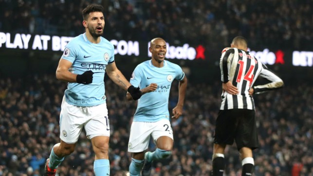 LETHAL WEAPON: Newcastle were in Kun's sights once again as Sergio struck another Magpies treble at the Etihad