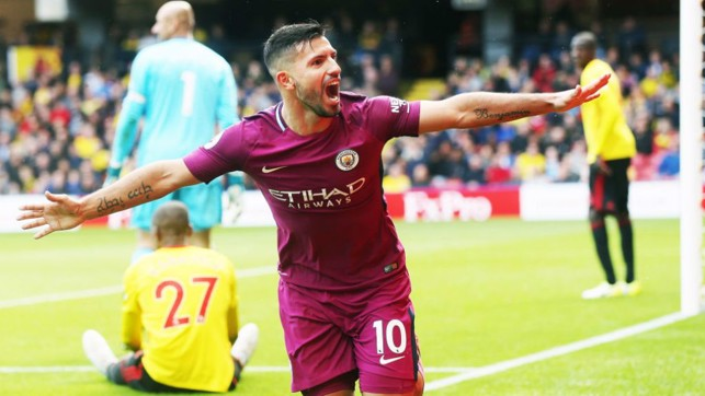 WAT A PLAYER: Aguero wheels away in delight after claiming his latest City hat-trick, this time in our 6-0 win away at Watford in September 2017