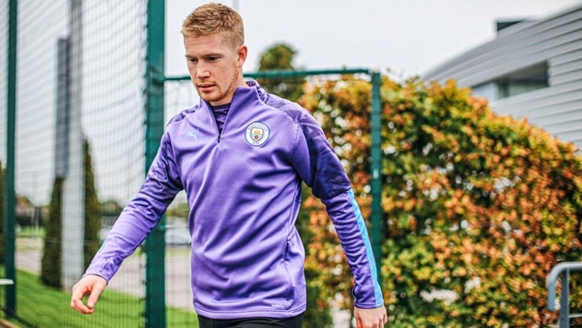 WELCOME BACK!: Kevin De Bryune strides out ahead of Monday's training session