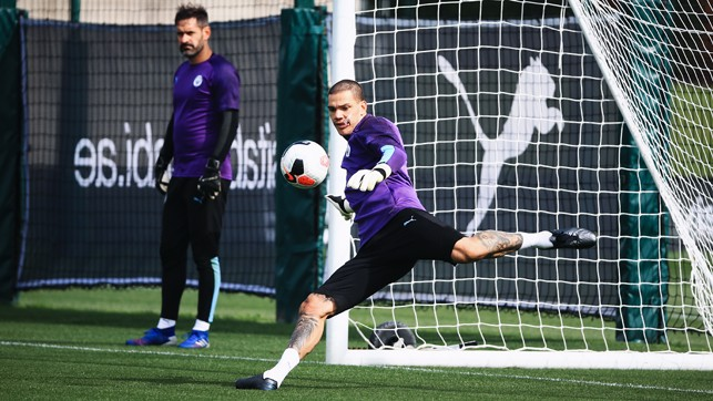 THIS IS HOW WE DO IT: Ederson shows off one of those sliced half volleys he does so well