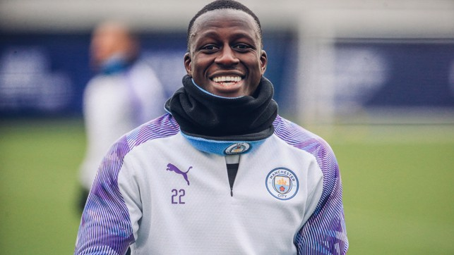 BIG BEN: Benjamin Mendy shows off his pearly whites