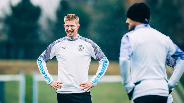RAIN MAN: Kevin De Bruyne sees the funny side during a break in training