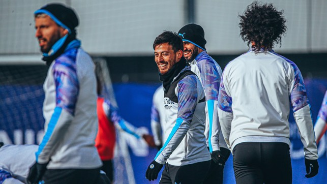 SUNNY SIDE UP: Despite the bitter January cold, the sun came out for David Silva and Co