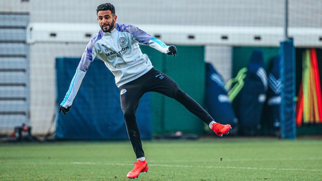 ACTION MAN: Riyad Mahrez lets fly during Tuesday's training session