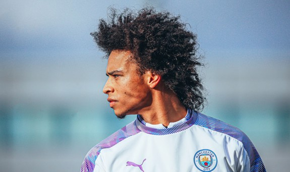 FOCUS TIME: Leroy Sane is a study in concentration as he makes his return to full training