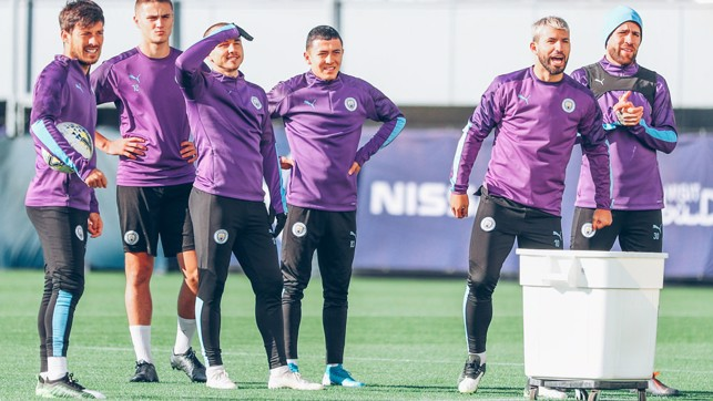 CALLING THE SHOTS: Sergio Aguero wasn't short of advice at Monday's session