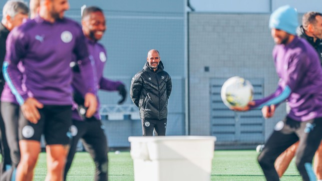 WATCHING BRIEF: Manager Pep Guardiola was on hand to guide the squad through our final preparations ahead of the Carabao Cup visit of Southampton