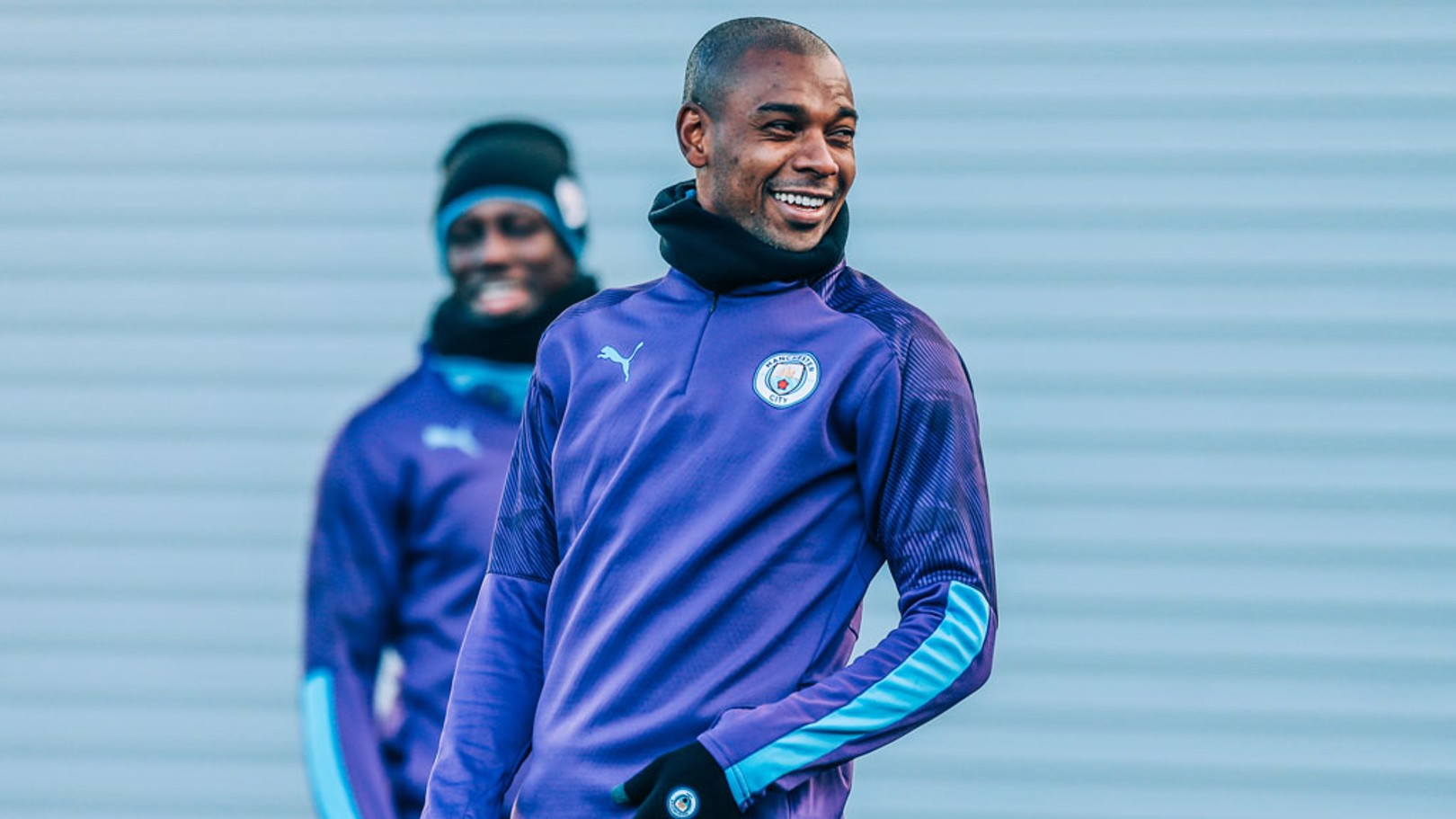 EXTRA LAYERS: The cold doesn't seem to be bothering Fernandinho