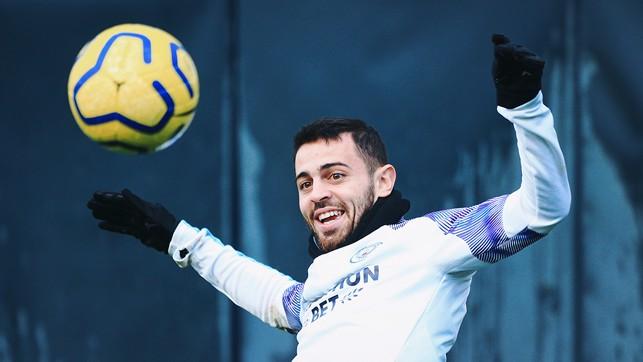 SMILING SILVA: Bernardo enjoying himself in training
