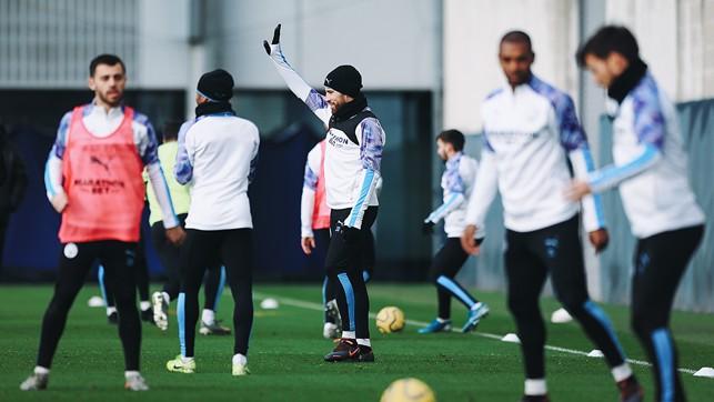 IN FOCUS: Nicolas Otamendi calls for the ball during a drill